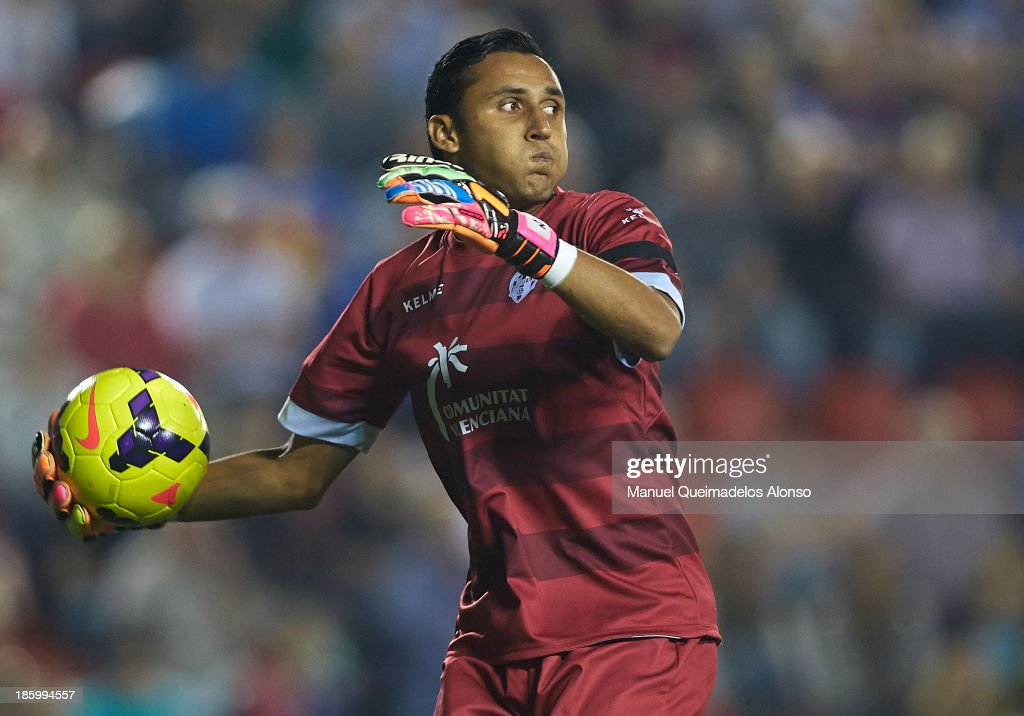 <a gi-track='captionPersonalityLinkClicked' href=/galleries/search?phrase=Keylor+Navas&family=editorial&specificpeople=2097517 ng-click='$event.stopPropagation()'>Keylor Navas</a> of Levante in action during the La Liga match between Levante UD and RCD Espanyol at Estadio Ciutat de Valencia on October 26, 2013 in Valencia, Spain