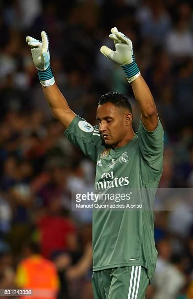 Keylor Navas of Real Madrid celebrates during the Supercopa de Espana Supercopa Final 1st Leg match between FC Barcelona and Real Madrid at Camp Nou...