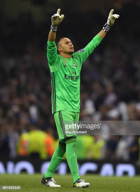 Keylor Navas of Real Madrid celebrates his sides seconds goal during the UEFA Champions League Final between Juventus and Real Madrid at National...