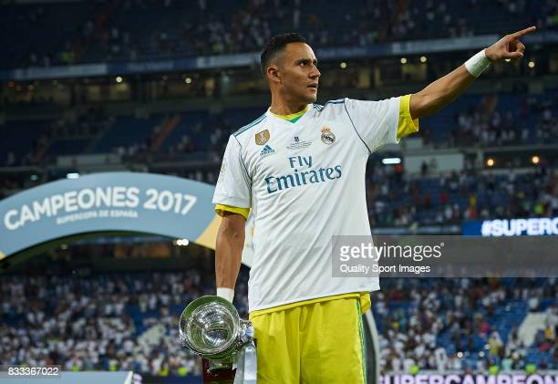 Keylor Navas of Real Madrid celebrates with the trophy after winning the Supercopa de Espana Supercopa Final 2nd Leg match between Real Madrid and FC...