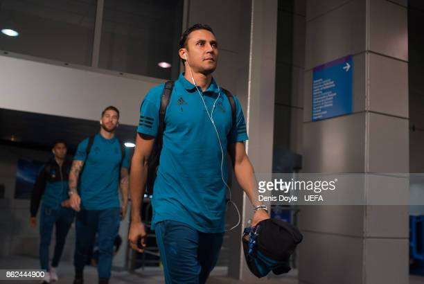 Keylor Navas of Real Madrid CF arrives at the Estadio Santiago Bernabeu ahead of the UEFA Champions League group H match between Real Madrid and...