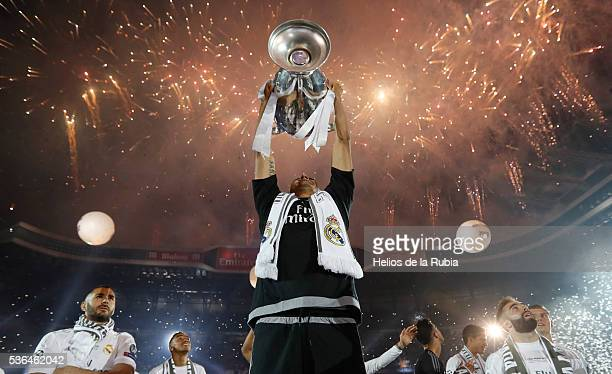 Keylor Navas of Real Madrid CF during Real Madrid CF team celebration at Santiago Bernabeu Stadium the day after winning the UEFA Champions League...