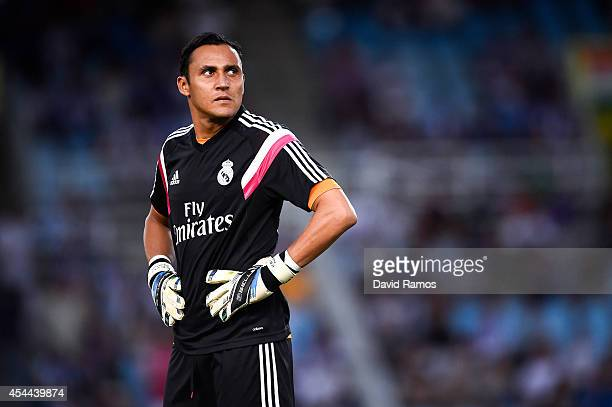 Keylor Navas of Real Madrid CF looks on during the warm up prior to the La Liga match between Real Sociedad de Futbol and Real Madrid CF at Estadio...