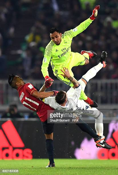 Keylor Navas of Real Madrid clashes with Sergio Ramos of Real Madrid during the FIFA Club World Cup Final match between Real Madrid and Kashima...