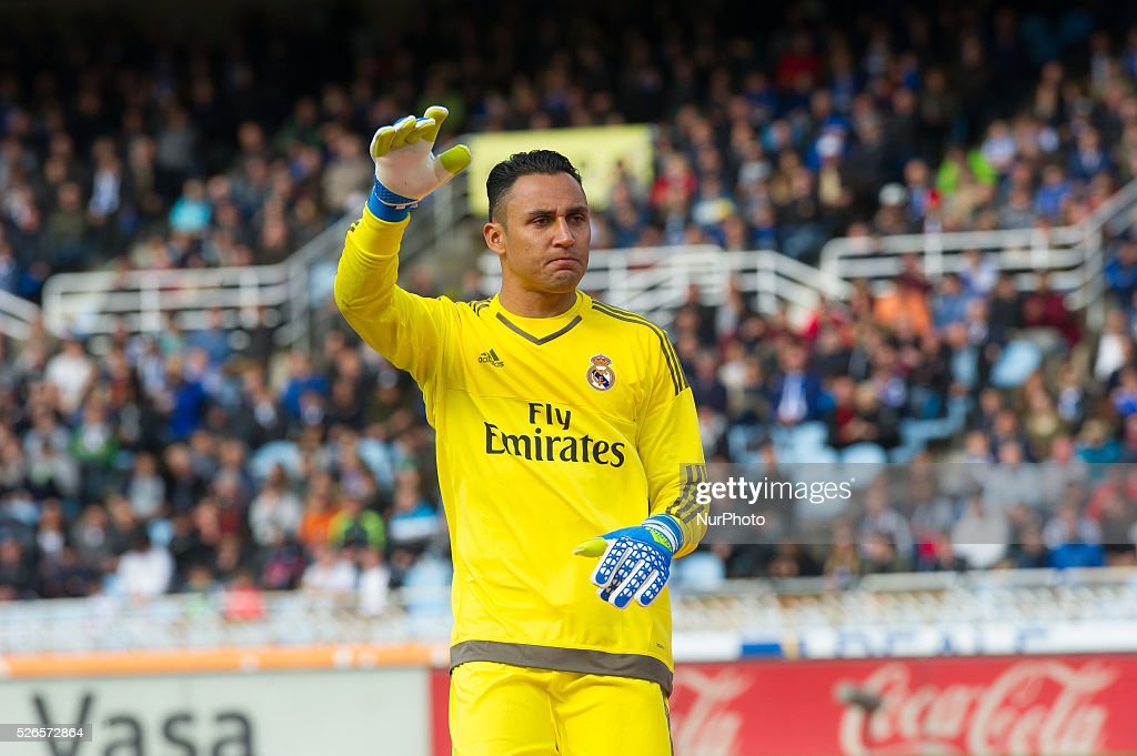 Keylor Navas of Real Madrid during the Spanish league football match between Real Sociedad and Real Madrid at the Anoeta Stadium in San Sebastian on April 30, 2016