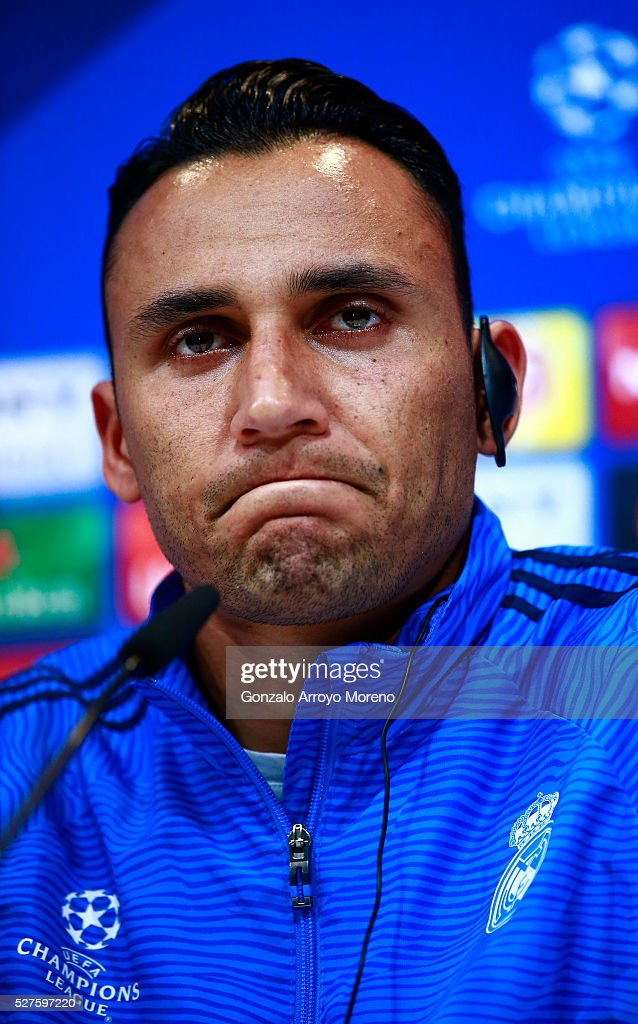 Keylor Navas of Real Madrid faces the media during a press conference ahead of the UEFA Champions League Semi Final Second Leg between Real Madrid and Manchester City at Valdebebas training ground on May 3, 2016 in Madrid, Spain.