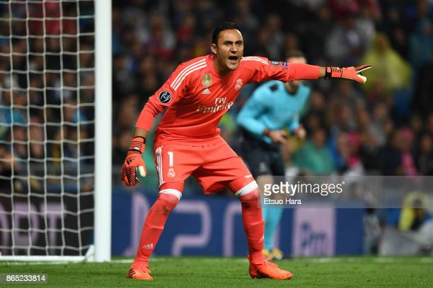 Keylor Navas of Real Madrid gestures during the UEFA Champions League group H match between Real Madrid and Tottenham Hotspur at Estadio Santiago...
