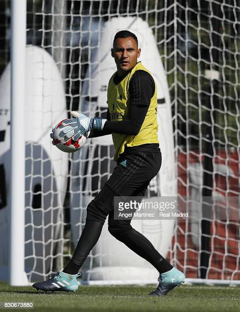 Keylor Navas of Real Madrid in action during a training session at Valdebebas training ground on August 12 2017 in Madrid Spain