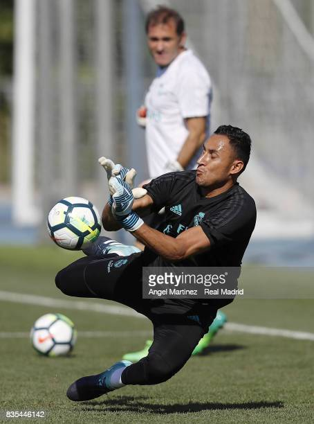 Keylor Navas of Real Madrid in action during a training session at Valdebebas training ground on August 19 2017 in Madrid Spain