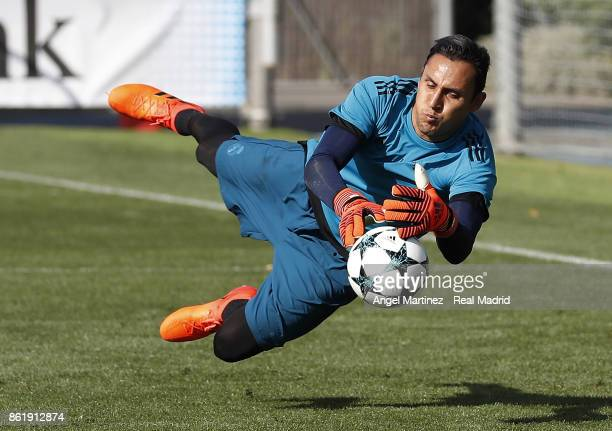 Keylor Navas of Real Madrid in action during a training session at Valdebebas training ground on October 16 2017 in Madrid Spain