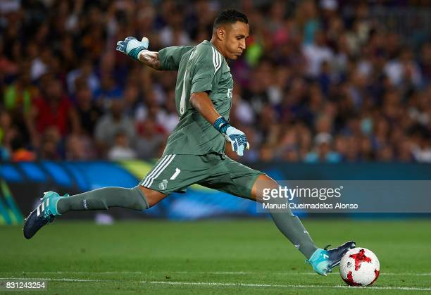 Keylor Navas of Real Madrid in action during the Supercopa de Espana Supercopa Final 1st Leg match between FC Barcelona and Real Madrid at Camp Nou...