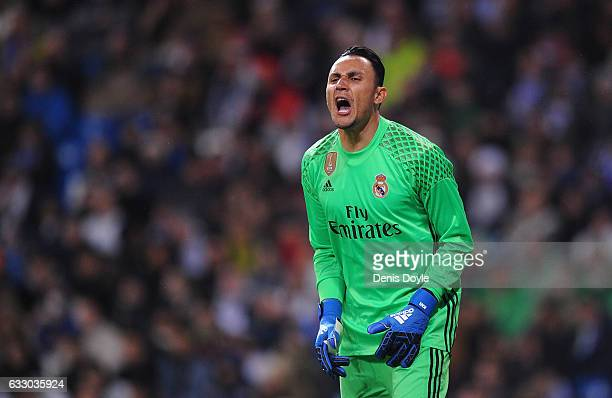 Keylor Navas of Real Madrid reacts during the La Liga match between Real Madrid CF and Real Sociedad de Futbol at the Bernabeu on January 29 2017 in...
