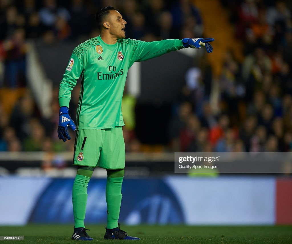 Keylor Navas of Real Madrid reacts during the La Liga match between Valencia CF and Real Madrid at Mestalla Stadium on February 22, 2017 in Valencia, Spain.