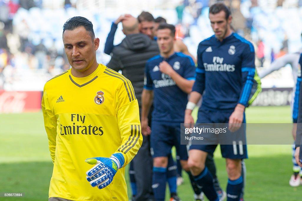Keylor Navas of Real Madrid reacts during the Spanish league football match between Real Sociedad and Real Madrid at the Anoeta Stadium in San Sebastian on April 30, 2016