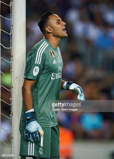 Keylor Navas of Real Madrid reacts during the Supercopa de Espana Supercopa Final 1st Leg match between FC Barcelona and Real Madrid at Camp Nou on...