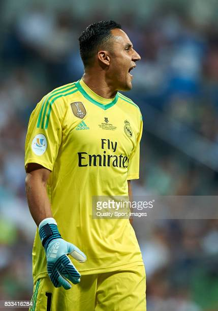 Keylor Navas of Real Madrid reacts during the Supercopa de Espana Supercopa Final 2nd Leg match between Real Madrid and FC Barcelona at Estadio...