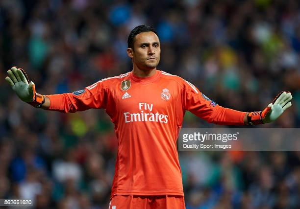 Keylor Navas of Real Madrid reacts during the UEFA Champions League group H match between Real Madrid and Tottenham Hotspur at Estadio Santiago...