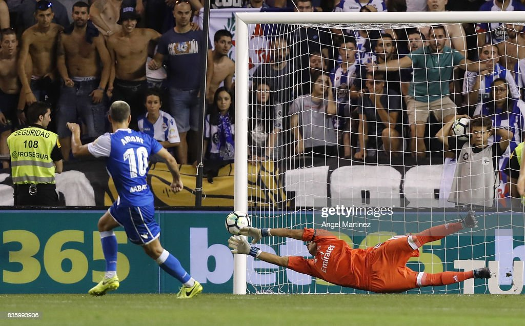 Keylor Navas of Real Madrid saves a penalty from Florin Andone of Deportivo La Coruna during the La Liga match between Deportivo La Coruna and Real Madrid CF at Riazor Stadium on August 20, 2017 in La Coruna, Spain.