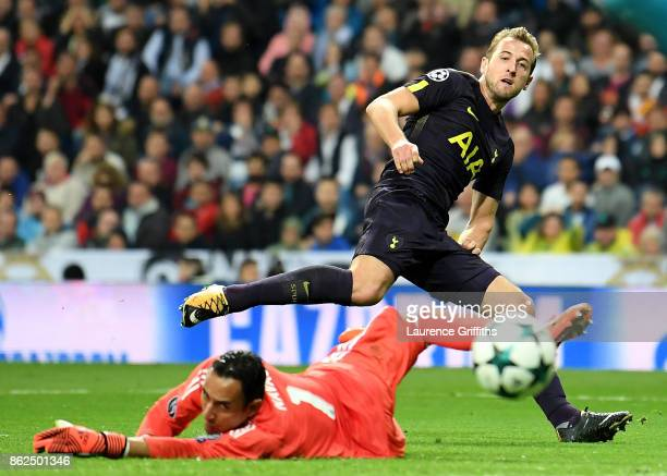 Keylor Navas of Real Madrid saves Harry Kane of Tottenham Hotspur goal attempt during the UEFA Champions League group H match between Real Madrid and...