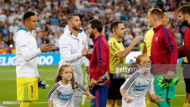 Keylor Navas of Real Madrid Sergio Ramos of Real Madrid Leo Messi of Barcelona and Ter Stegen of Barcelona looks on during the Supercopa de Espana...