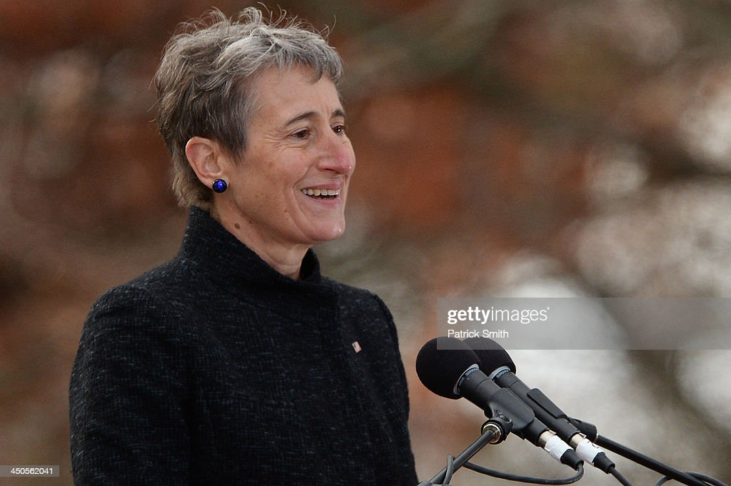 Keynote speaker and Secretary of the Interior, Sally Jewell, speaks during a commemoration of the 150th Anniversary of the Gettysburg Address at the Soldiers' National Cemetery at Gettysburg National Military Park on November 19, 2013 in Gettysburg, Pennsylvania. The iconic Gettysburg Address was given by U.S. President Abraham Lincoln in 1863 during the Civil War and highlighted the principles of democracy, human equality, and freedom and professed that 'government of the people, by the people, for the people, shall not perish from the earth.'.