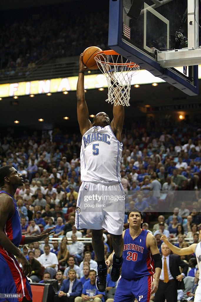 Keyon Dooling #5 of the Orlando Magic takes the ball to the basket in Game Four of the Eastern Conference Quarterfinals during the 2007 NBA Playoffs against the Detroit Pistons at Amway Arena on April 28, 2007 in Orlando, Florida. The Pistons won 97-93 and won the series 4-0.