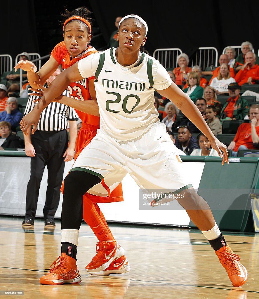 Keyona Hayes #20 of the Miami Hurricanes blocks out Chancie Dunn #23 of the Clemson Lady Tigers during a free throw on January 3, 2013 at the BankUnited Center in Coral Gables, Florida. miami defeated Clemson 78-56.