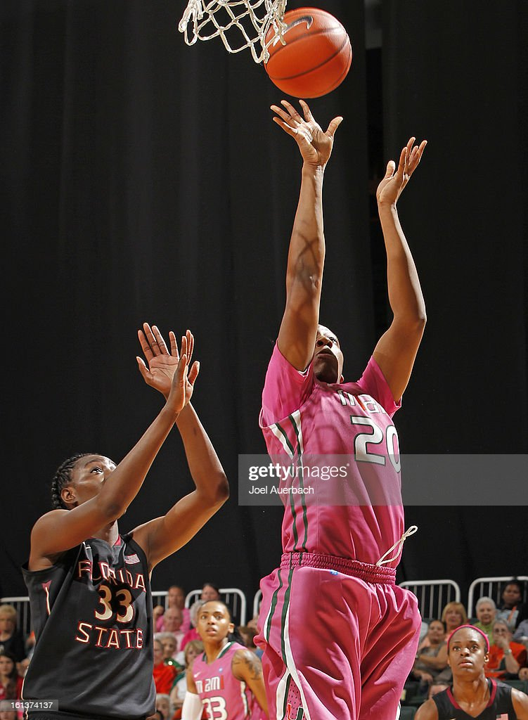 Keyona Hayes #20 of the Miami Hurricanes goes to the basket against the Florida State Seminoles on February 10, 2013 at the BankUnited Center in Coral Gables, Florida.