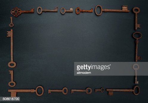 keys frame on a blackboard with copy space : Stock Photo