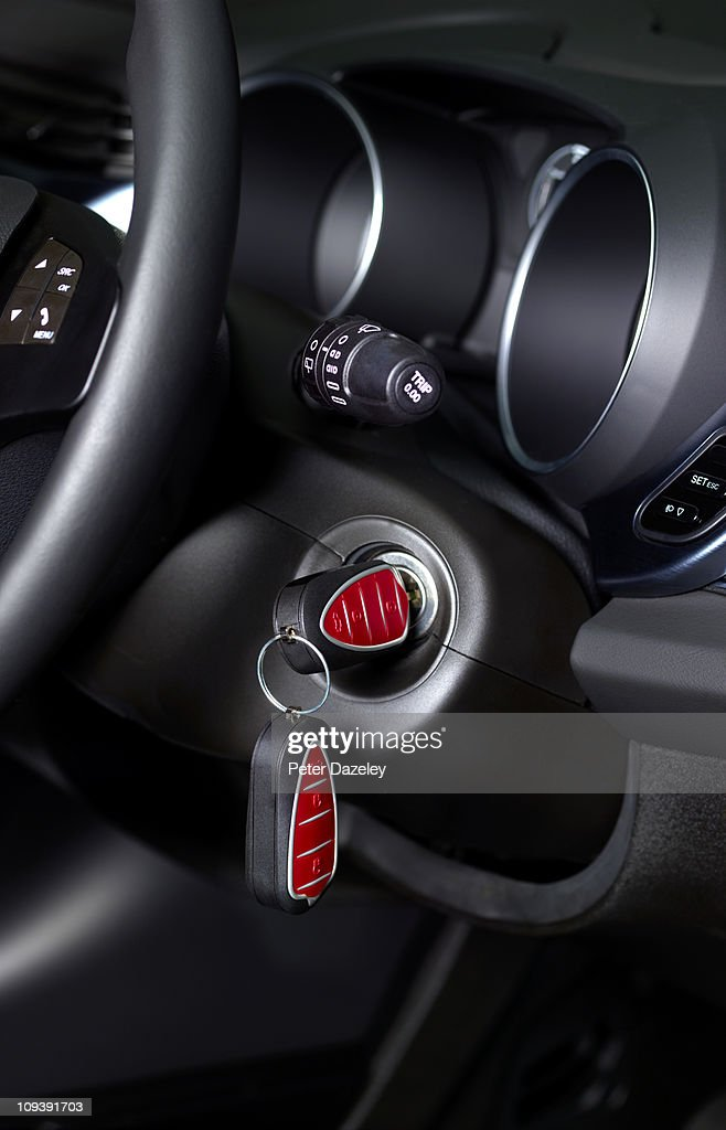 Keys in ignition of new car : Stock Photo