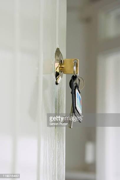 Keys in lock of front door