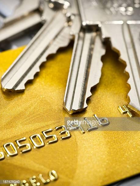 Schlüssel mit Kreditkarte (keine richtigen Namen und Nummern