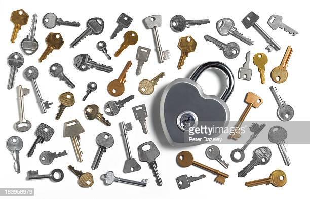 Keys with heart shaped padlock