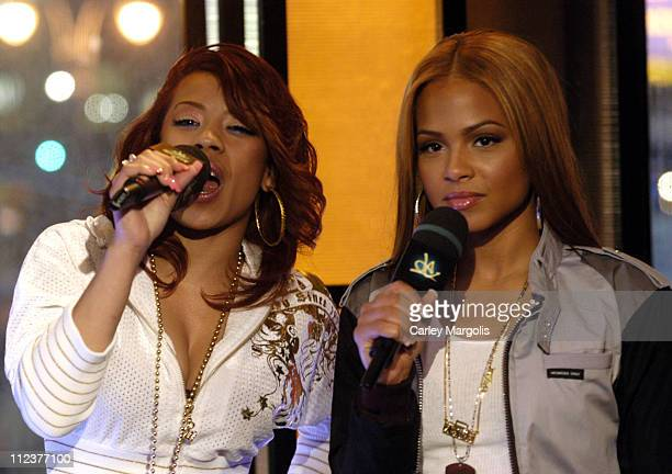 Keyshia Cole and Christina Milian during LL Cool J TI Christina Milian Keyshia Cole Nick Cannon Young Jeezy and Yung JOC Visit MTVs 'Direct Effect'...