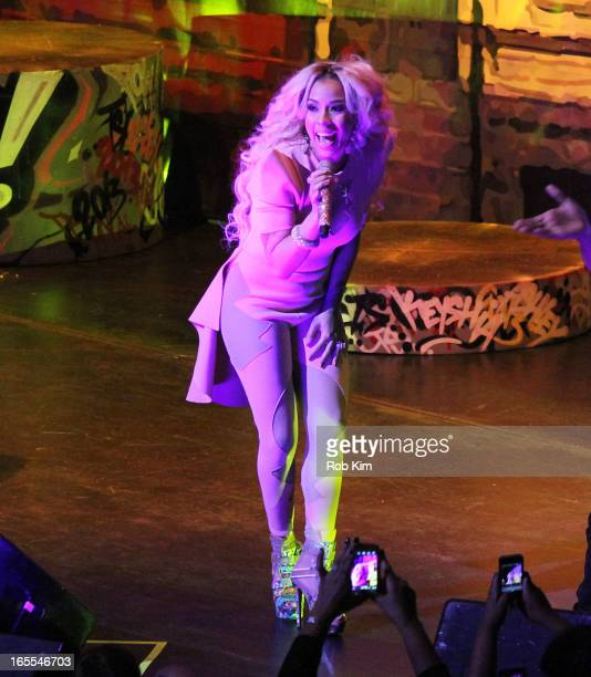 Keyshia Cole performs during the 'Woman To Woman' tour at Beacon Theatre on April 4 2013 in New York City