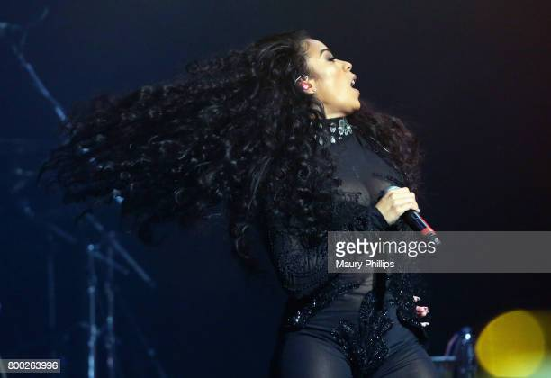 Keyshia Cole performs onstage during night two of the Late Night Concert during the 2017 BET Experience at The Novo by Microsoft on June 23 2017 in...