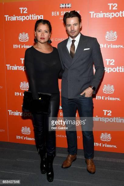 Keytt Lundqvist and model Alex Lundqvist attend a TriStar and Cinema Society screening of 'T2 Trainspotting' at Landmark Sunshine Cinema on March 14...