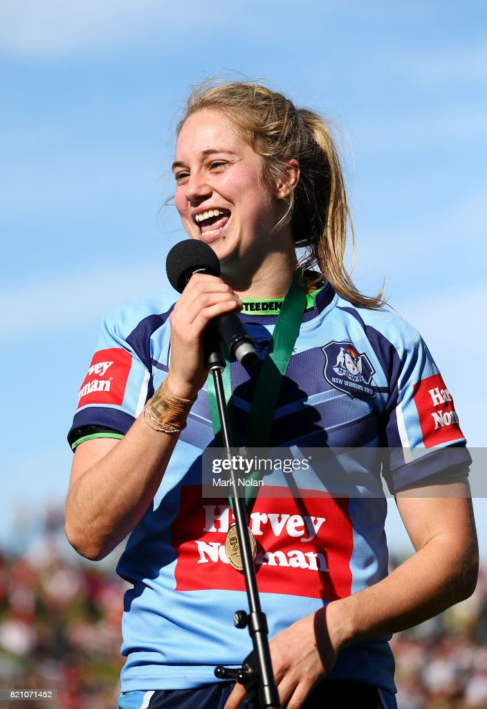 Kezie Apps makes a speach after winning the player of the match after the Women's Interstate Challenge match between New South Wales and Queensland at WIN Stadium on July 23, 2017 in Wollongong, Australia.