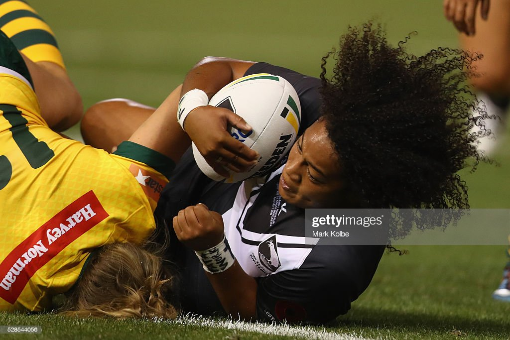 Kezie Apps of the Kiwi Ferns is tackled during the Women's international Rugby League Test match between the Australian Jillaroos and New Zealand Kiwi Ferns at Hunter Stadium on May 6, 2016 in Newcastle, Australia.