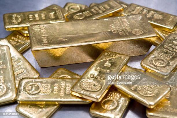 125 kg and 1 kg gold bricks in the vault of the pro aurum Goldhaus on February 19 2013 in Munich Germany Gold prices fell to a sevenmonth low on...