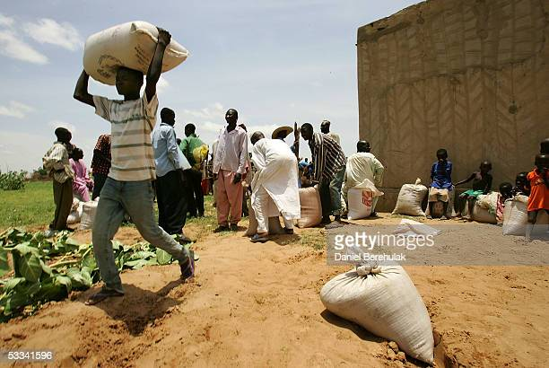 A 50 kg bag of millet is carried by a villager of Douloukou from a distribution centre on August 8 2005 near Dakoro Niger Care International...