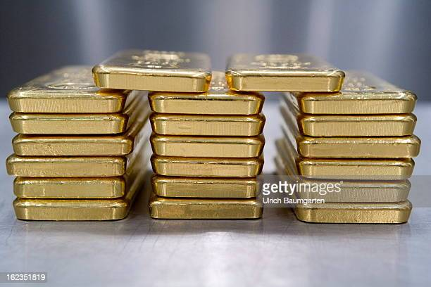 1 kg gold bricks in the vault of the pro aurum Goldhaus on February 19 2013 in Munich Germany Gold prices fell to a sevenmonth low on Thursday after...