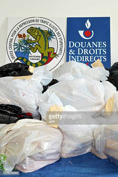 385 kg of cocaine worth nearly 23 million euros are pictured on June 22 2010 at French Caribbean Central Office for the Control of Illegal Drug...