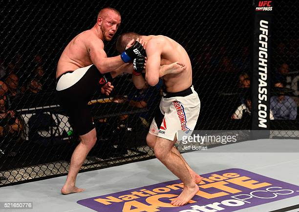 Khabib Nurmagomedov attempts to take down Darrell Horcher in their lightweight bout during the UFC Fight Night event at Amalie Arena on April 16 2016...