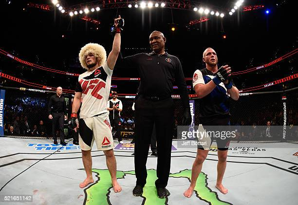 Khabib Nurmagomedov celebrates his victory over Darrell Horcher in their lightweight bout during the UFC Fight Night event at Amalie Arena on April...