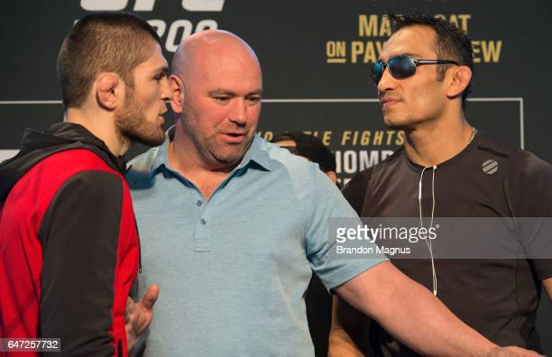 Khabib Nurmagomedov of Russia and Tony Ferguson face off during the UFC 209 Ultimate Media Day inside TMobile Arena on March 2 2017 in Las Vegas...