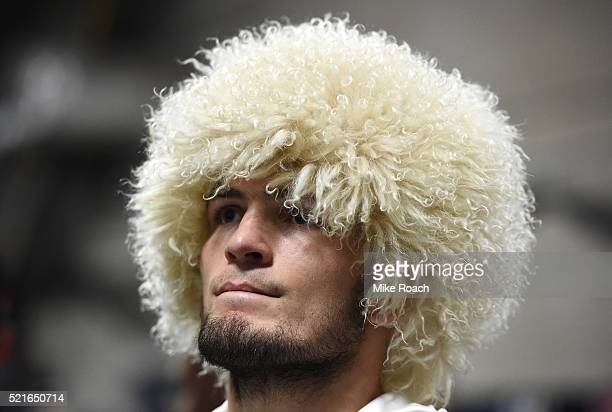 Khabib Nurmagomedov prepares to enter the Octagon before facing Darrell Horcher in their lightweight bout during the UFC Fight Night event at Amalie...
