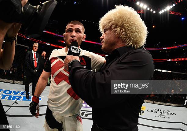 Khabib Nurmagomedov speaks with Joe Rogan after his victory over Darrell Horcher in their lightweight bout during the UFC Fight Night event at Amalie...