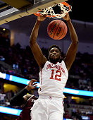 Khadeem Lattin of the Oklahoma Sooners dunks the ball in the second half while taking on the Texas AM Aggies in the 2016 NCAA Men's Basketball...