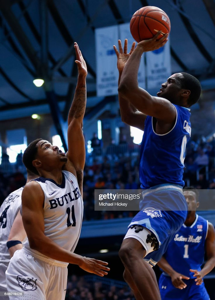 Khadeen Carrington #0 of the Seton Hall Pirates shoos the ball against Kethan Savage #11 of the Butler Bulldogs at Hinkle Fieldhouse on March 4, 2017 in Indianapolis, Indiana.